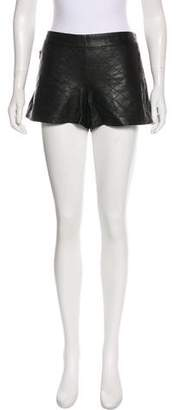 Alice + Olivia Quilted Leather Mini Shorts