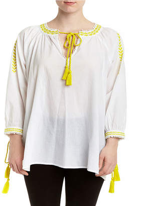 Romeo & Juliet Couture Neon Peasant Blouse