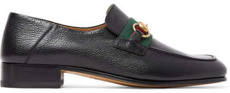 Gucci Bonny Horsebit Collapsible-Heel Webbing-Trimmed Full-Grain Leather Loafers