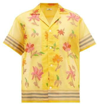 Bode - Floral Embroidered Cotton Blend Shirt - Womens - Yellow