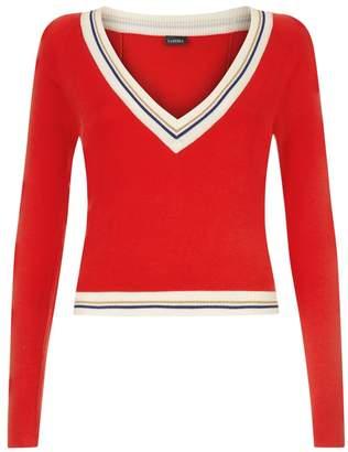 La Perla La Perla | Silk Soul Red Silk Knit V-Neck Cropped Sweater With Lurex Trim | Xl | Red