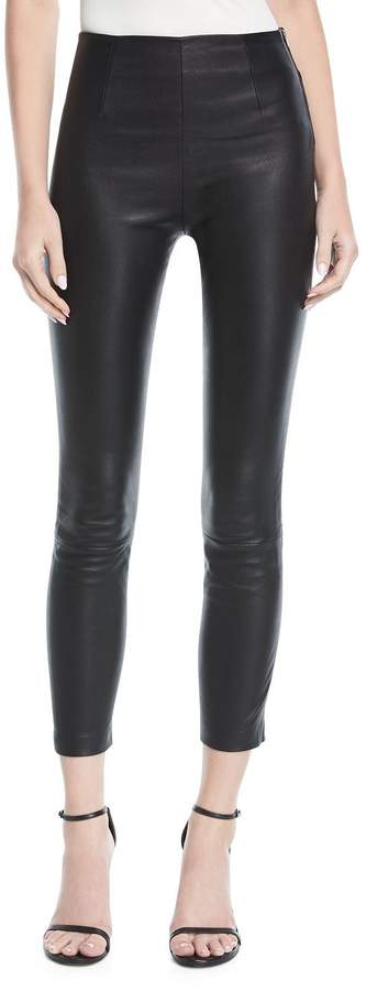Alexander Wang Cropped Leather Leggings w/ Back Rivets