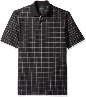 Arrow Men's Short Sleeve Printed Windowpane Oxford Polo Shirt