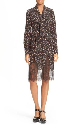 Women's Mcq Alexander Mcqueen Tie Neck Floral Print Dress $695 thestylecure.com