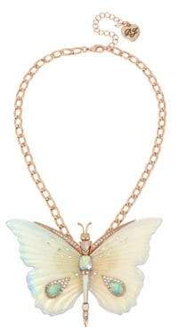 Betsey Johnson Flower Crystal Butterfly Pendant Necklace