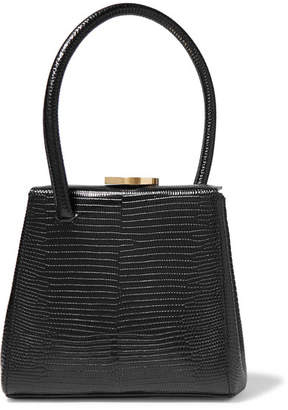Little Liffner - Mademoiselle Small Lizard-effect Leather Tote - Black