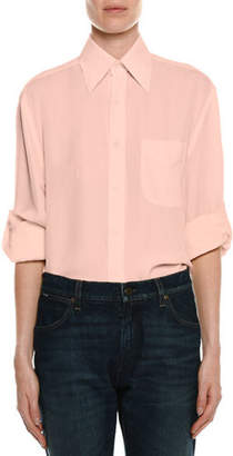 Tom Ford Stretch-Charmeuse Button-Down Blouse