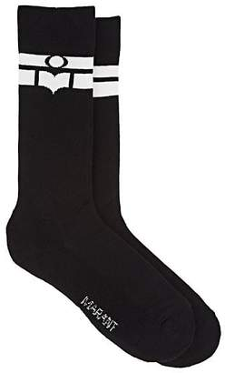 Isabel Marant Women's Vibe Logo-Striped Cotton-Blend Mid-Calf Socks - Black