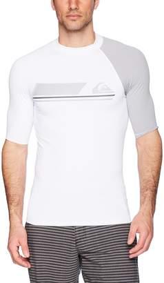 Quiksilver Men's Active Short Sleeve Rashguard Swim Shirt UPF 50+, Black/Iron Gate, S