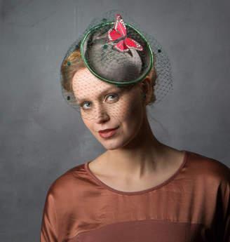 b01f7986b7cf6 Sahar Millinery Green Birdcage Veil Butterfly Hat
