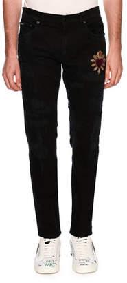 Dolce & Gabbana Patched Slim-Fit Denim Jeans