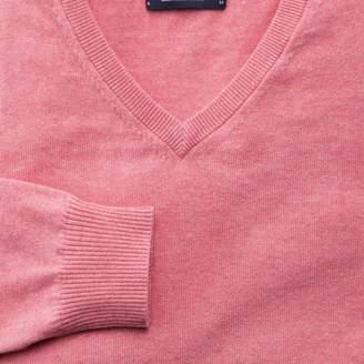 Charles Tyrwhitt Pink cotton cashmere v-neck jumper