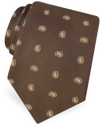 Forzieri Mini Paisley Pattern Woven Silk Tie