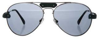 Chloé Leather-Trimmed Aviator Sunglasses w/ Tags