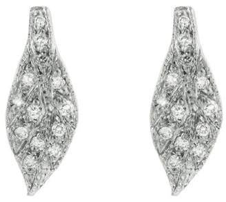 Cathy Waterman Diamond Leaf Stud Earrings - Platinum