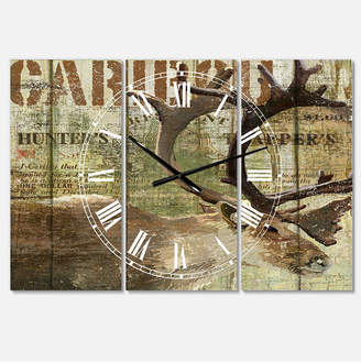 "Designart Open Season Caribou Oversized Traditional 3 Panels Wall Clock - 38"" x 38"" x 1"""
