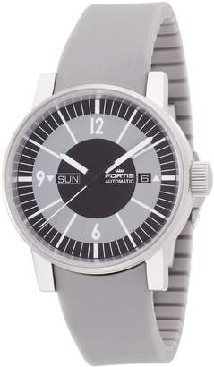 Fortis Men's 623.10.38 SI.10 Spacematic Classic Black Grey Silicone Band Watch.