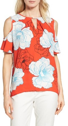 Women's Chaus Peony Print Cold Shoulder Blouse $69 thestylecure.com
