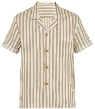 BEIGE Commas - Striped Textured Cotton Blend Camp Collar Shirt - Mens Multi