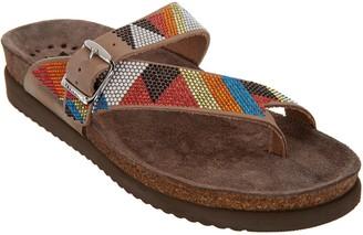 Mephisto Embellished Nubuck Toe Loop Sandals - Helen Sparkn
