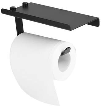 Dilwe Space Aluminum Toilet Bathroom Paper Holder Phone Shelf Wall Mounted Accessories Black Color, Wall Mounted Paper Holder, Antique Paper Holder