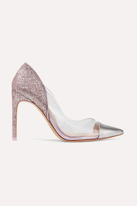 Sophia Webster Daria Pvc-paneled Glittered Metallic Leather Pumps - Pink