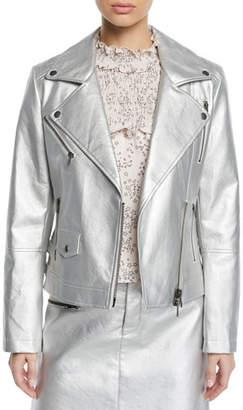 Rebecca Minkoff Hudson Metallic Zip-Front Moto Jacket