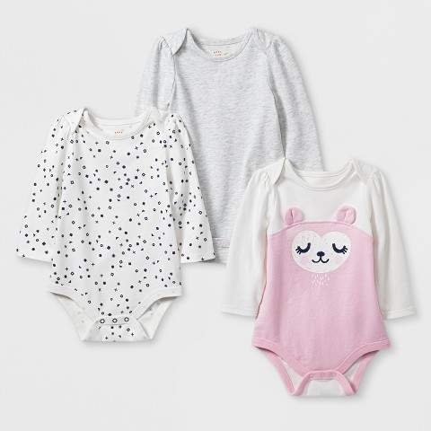 Cat & Jack Baby Girls' 3pk Long Sleeve Bodysuit Set - Cat & Jack Light Pink/Gray