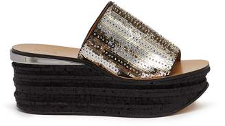Chloé 'Camille' cork wedge sequin sandals