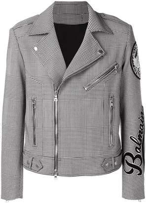 Balmain houndstooth check biker jacket