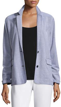 Joan Vass Two-Button Pique Boyfriend Jacket, Plus Size