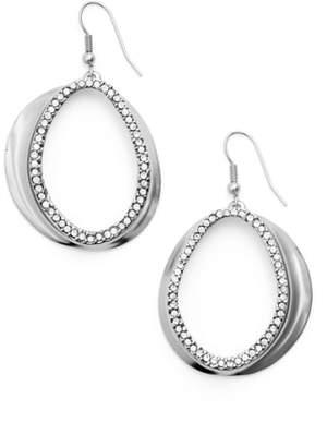 Karine Sultan Crystal Front Hoop Earrings