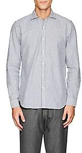 Barneys New York Men's Striped Cotton Oxford Shirt - Blue