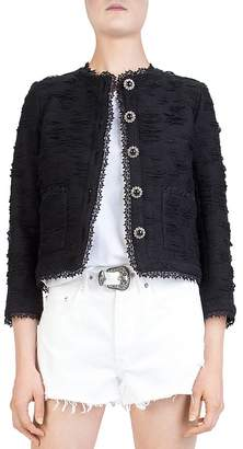 The Kooples New Rustic Cropped Textured Lace-Trimmed Jacket