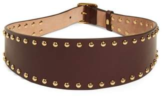 Alexander McQueen Stud Embellished Leather Waist Belt - Womens - Burgundy