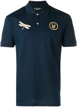 Alexander McQueen dragonfly and skull patch polo shirt
