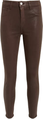 L'Agence Margot Cocoa Coated High-Rise Ankle Skinny Jeans
