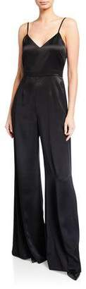 Jill Stuart V-Neck Sleeveless Wide-Leg Charmeuse Jumpsuit