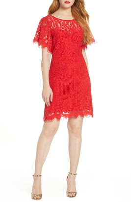 Lulus Pearson Short Sleeve Lace Cocktail Minidress