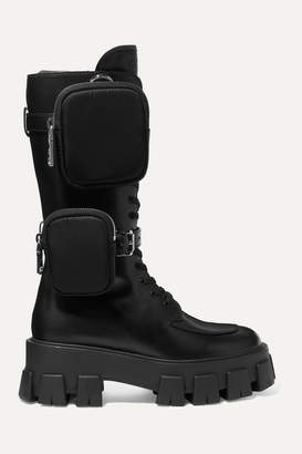 Prada Buckled Leather And Shell Platform Boots - Black