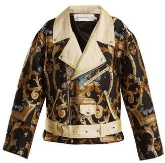 Marques'almeida - Floral Brocade Biker Jacket - Womens - Black Multi