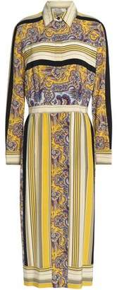 Etro Printed Silk Crepe De Chine Midi Shirt Dress
