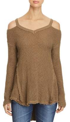 Elan International Cold Shoulder High Low Sweater