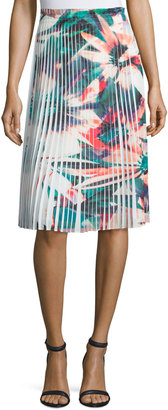 Nicole Miller Pleated Floral-Print Skirt, White Multi $108 thestylecure.com