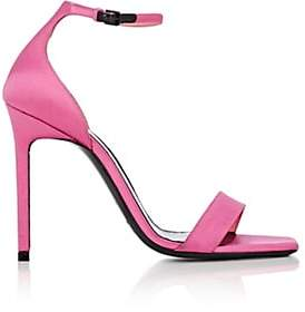 Saint Laurent Women's Amber Satin Ankle-Strap Sandals - Md. Pink