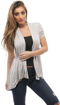 Hollywood Star Fashion Rayon Short Sleeves Flyaway Cardigan Shawl Collar Shrug Cardi Plus Size (3XL, )