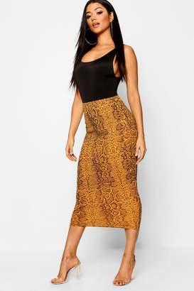 boohoo Crepe Snake Print Midaxi Skirt