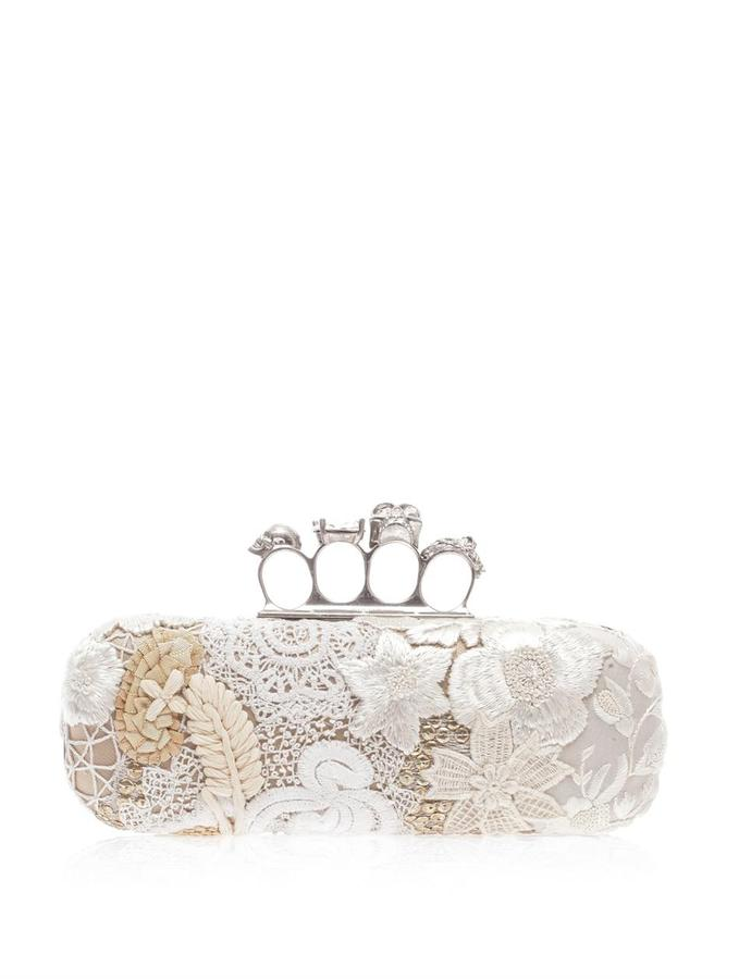 Alexander McQueen East West Knucklebox embroidered clutch