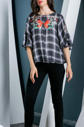 THML Clothing Embroidered Plaid Top