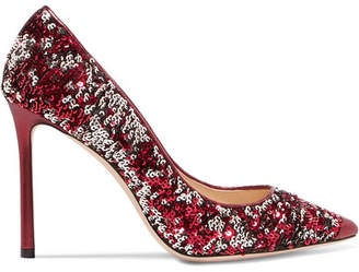 Jimmy Choo Romy 100 Sequined Metallic Leather Pumps - Fuchsia